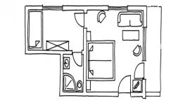 Chambre double avec balcon orienté sud, bâtiment principal