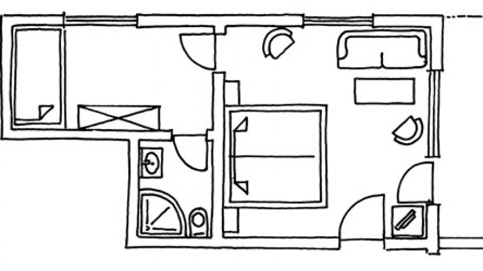 Doppelzimmer Balkon Südseite im Stammhaus