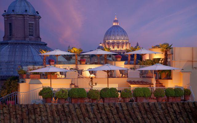 Biohotel Raphael: Dachterrasse mit Blick über Rom