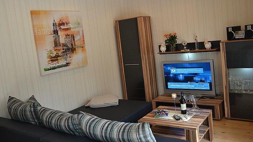 Wohnzimmer von der Ferienwohnung Bispinger Heide Lodge